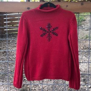 Vintage Red Sweater with Black Sequin Snowflake